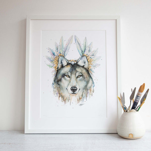 Watercolour animals artwork painting print of wolf