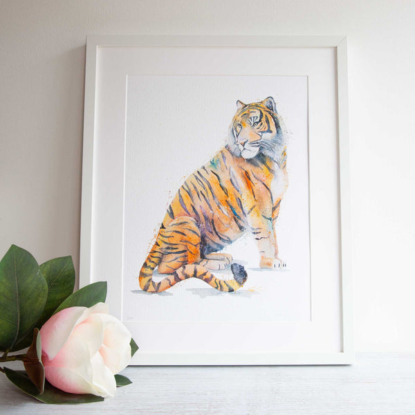 Watercolour animals artwork tiger painting framed