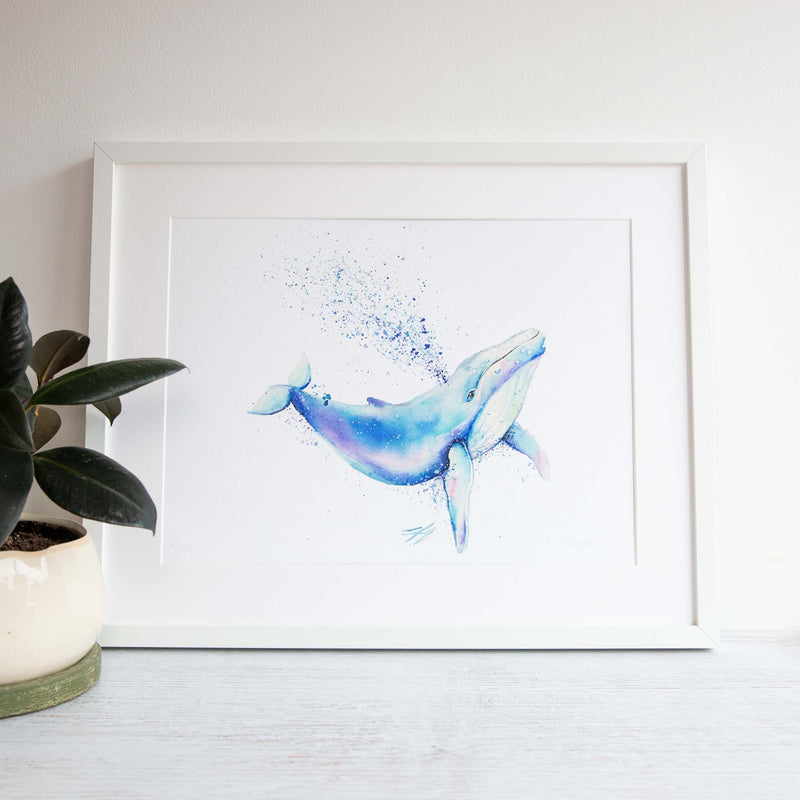 Watercolour animals artwork limited edition whale print for home, nursery or office wall art.