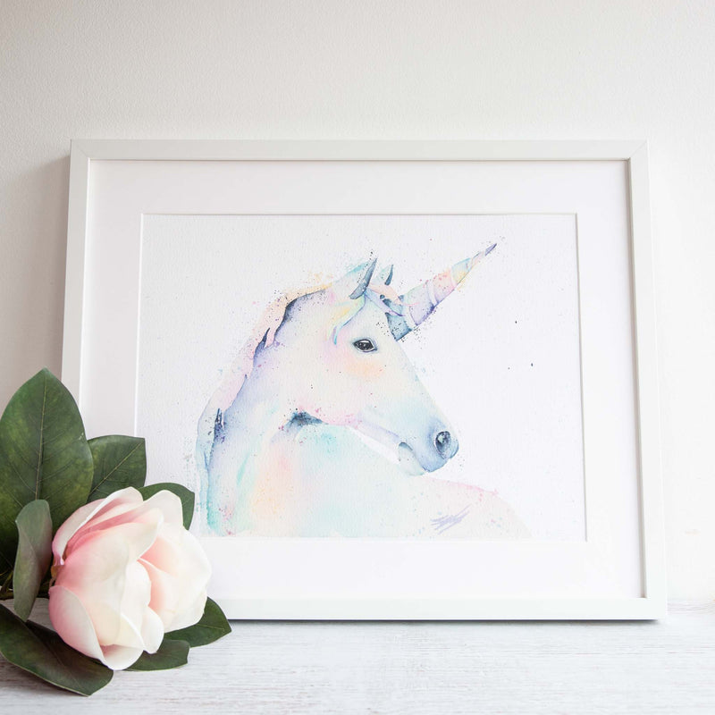 Watercolour animals artwork unicorn painted in a magical way for a kids room or nursery for children to enjoy.