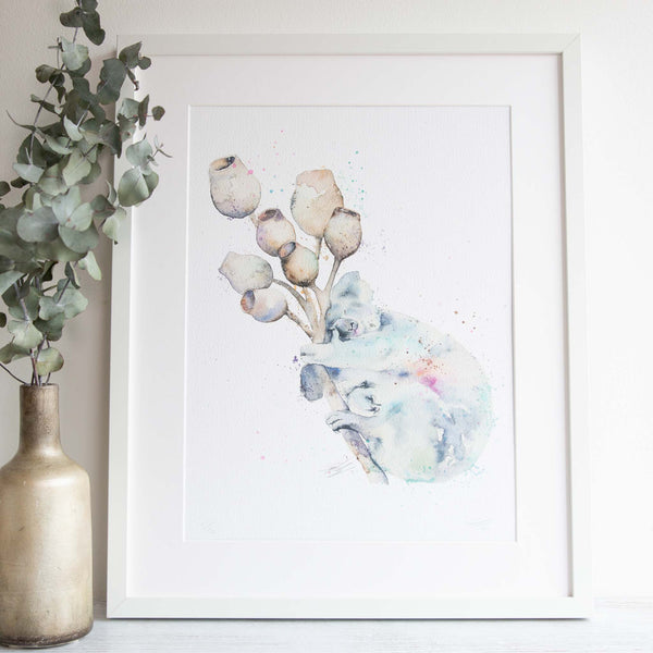 Watercolour animals artwork Koala and gumnuts