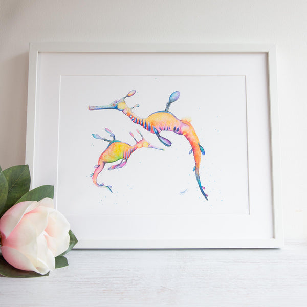 Watercolour animals artwork leafy sea dragons for nursery, gift for childrens room.