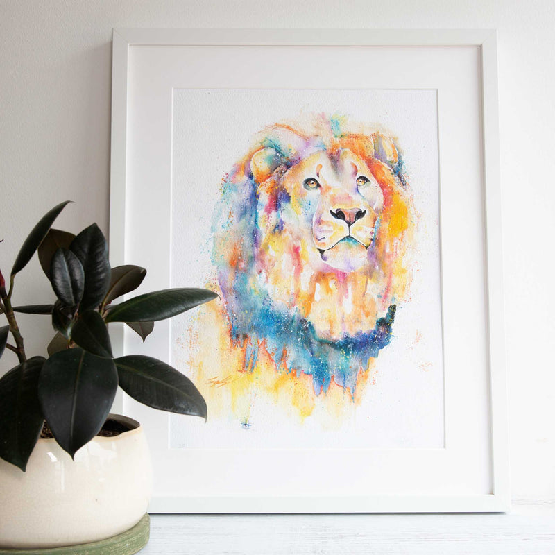 Rainbow lion watercolour animal print