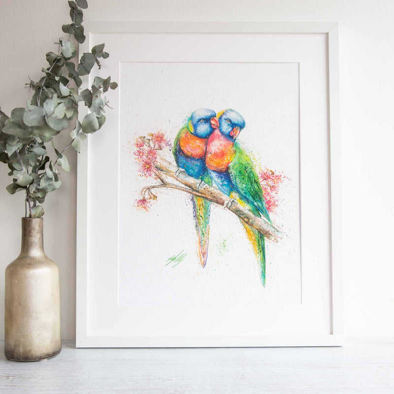 Watercolour animals artwork rainbow Lorikeet pair