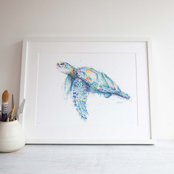 Watercolour animals artwork Nelly the Shelly green sea turtle painted from the great barrier reef in Australia.