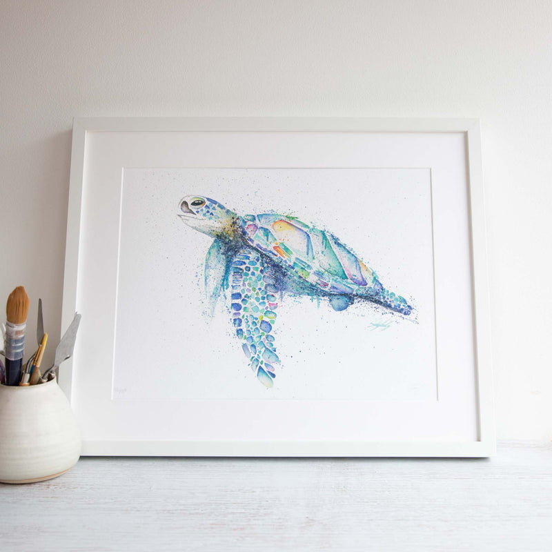Watercolour animals artwork Nelly the Shelly