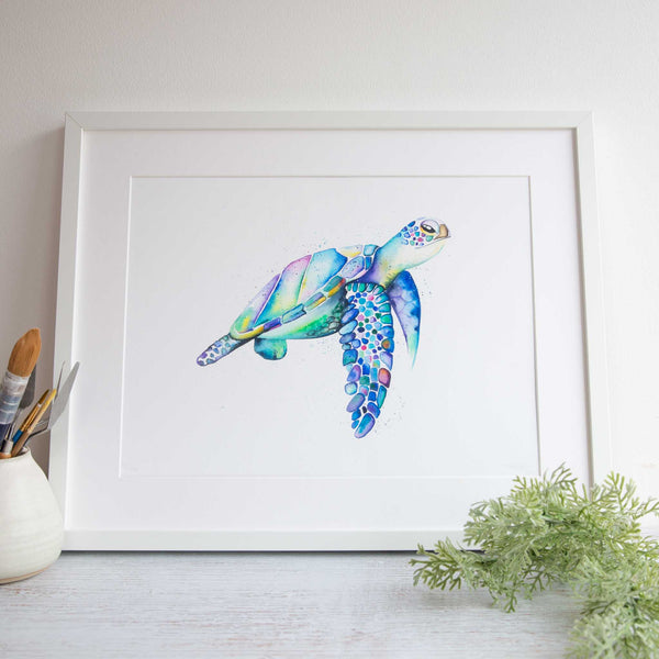 Rainbow turtle watercolour animals artwork by self taught australian artist stephanie elizabeth artwork.