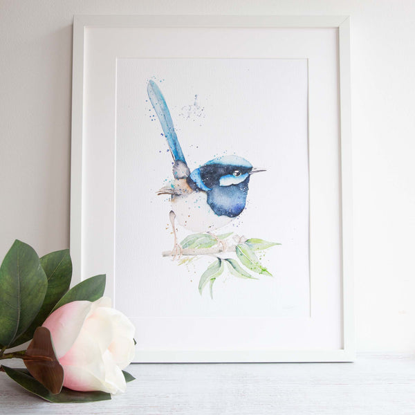 Watercolour animals artwork blue wren wall art, home decor, nursery art.