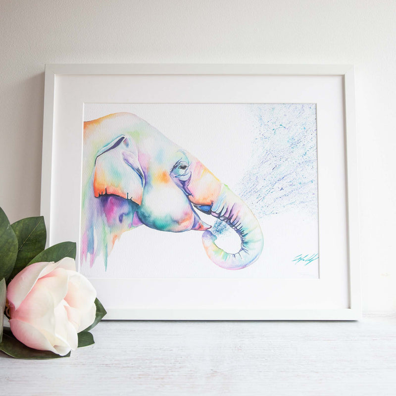 Watercolour animals artwork Splash back rainbow elephant painting print.