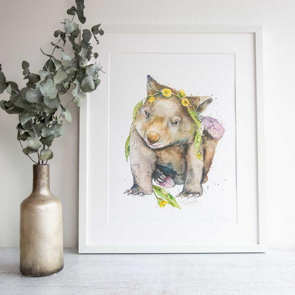 Watercolour animals artwork Wombat print