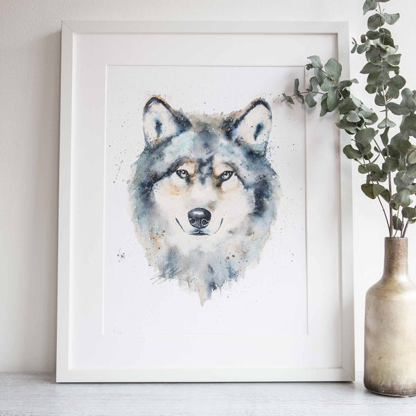 Watercolour animals artwork dire wolf