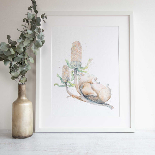 Watercolour animals artwork wombat banksia