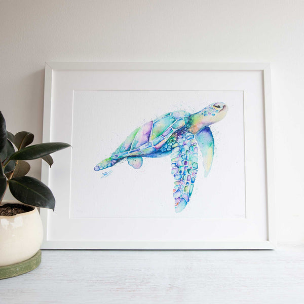 Watercolour animals artwork rainbow turtle wall art for home decor.