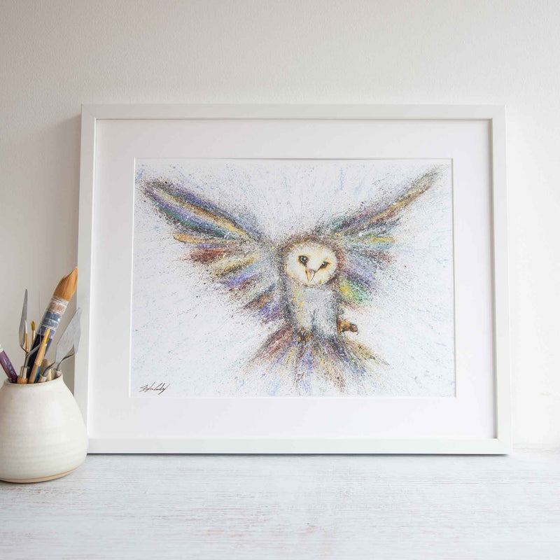 Wake up call framed watercolour print
