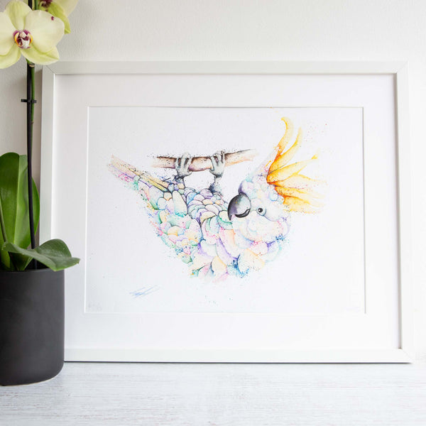 Watercolour animals artwork white cockatoo