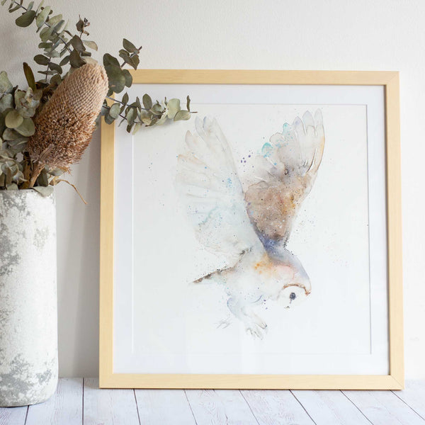 Watercolour animals artwork owl original painting by artist Stephanie Elizabeth. Australian art ready to hang on your wall. Comes framed, great gift idea!