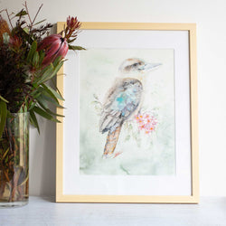 Watercolour animals artwork original kookaburra and Christmas bush by Stephanie Elizabeth Artwork. Original watercolour painting framed wall art ready for your house.