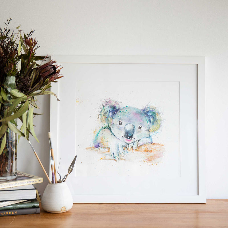 Rainbow koala original watercolour painting