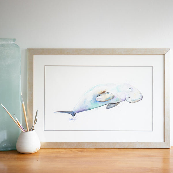 Happy Dugong watercolour animals artwork