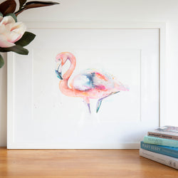Pink Flamingo Original watercolour animal artwork