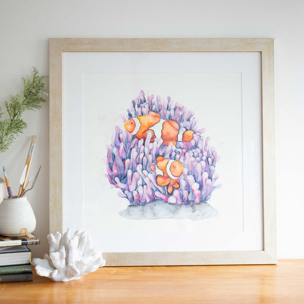 Clownfish watercolour fish painting