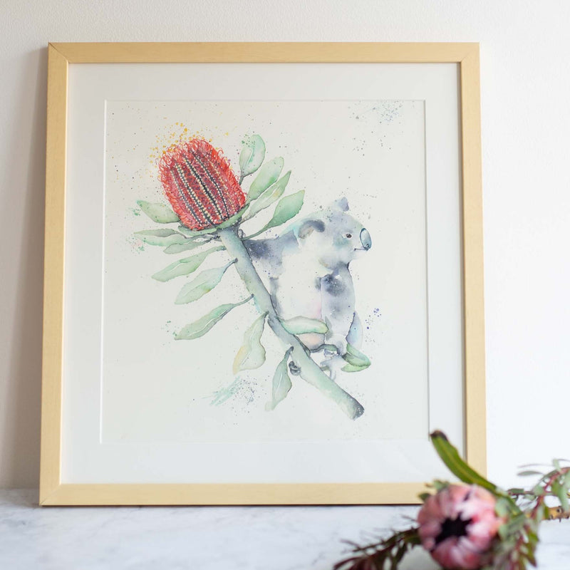Watercolour animals artwork original koala painting with banksia