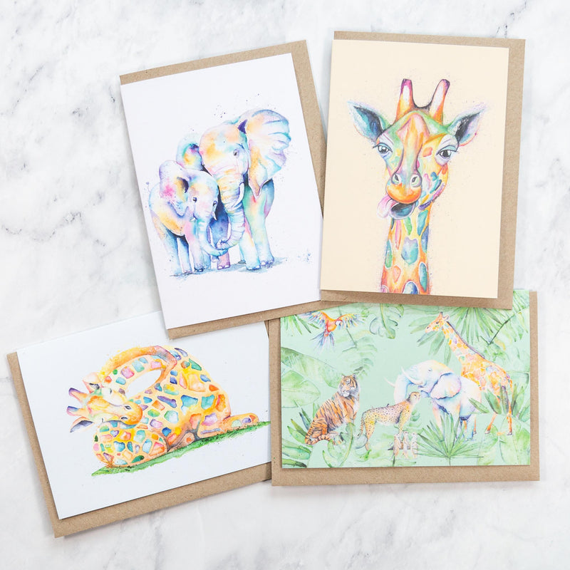 giraffes and elephants greeting cards made from recycled paper