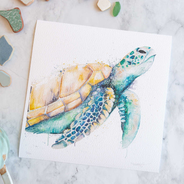 green turtle oil painting print