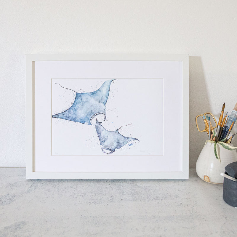 Framed manta Ray Print by SEA