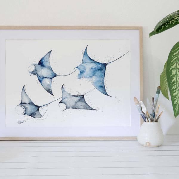 manta rays original animal artwork