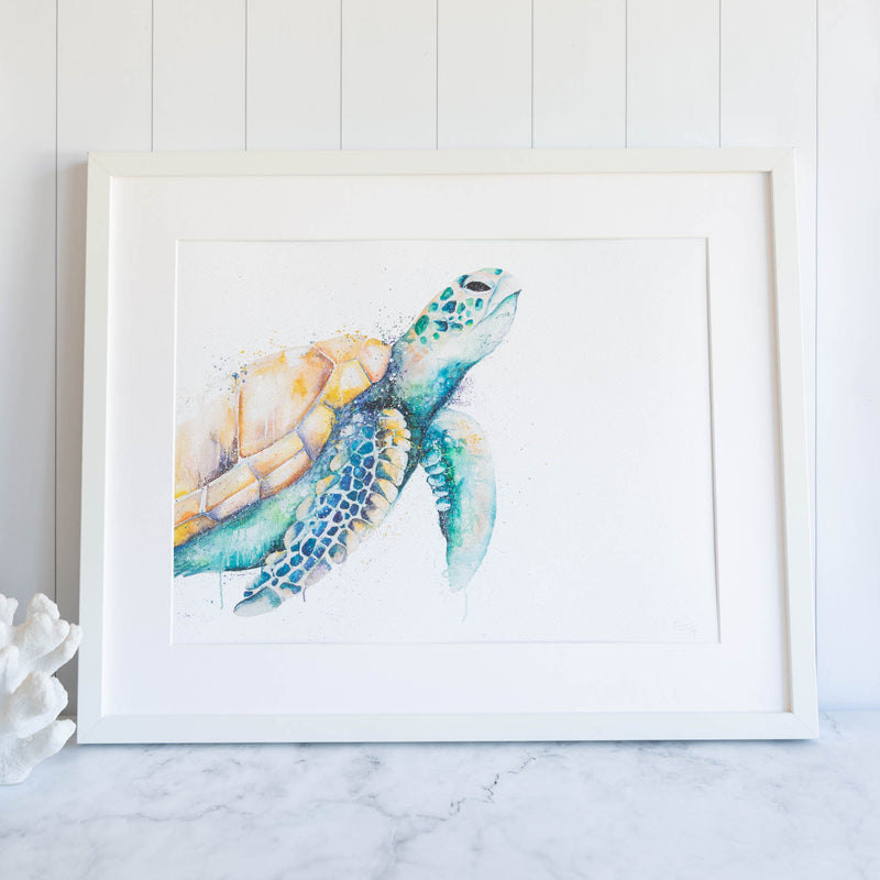 Green turtle oil painting