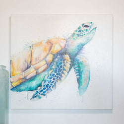 Green sea turtle oil painting on canvas