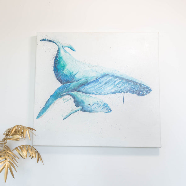 Original oil painting mom and baby humpback whale