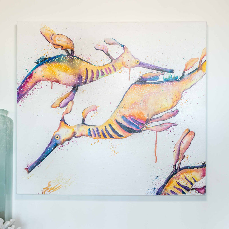 Leafy sea dragons painted in acrylic paint