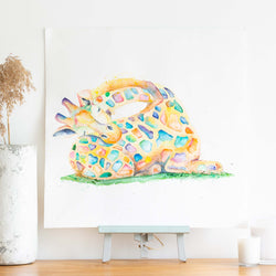 watercolour animal artwork rainbow giraffe