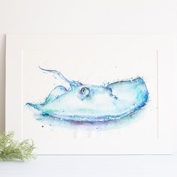 watercolour animals artwork blue stingray painting