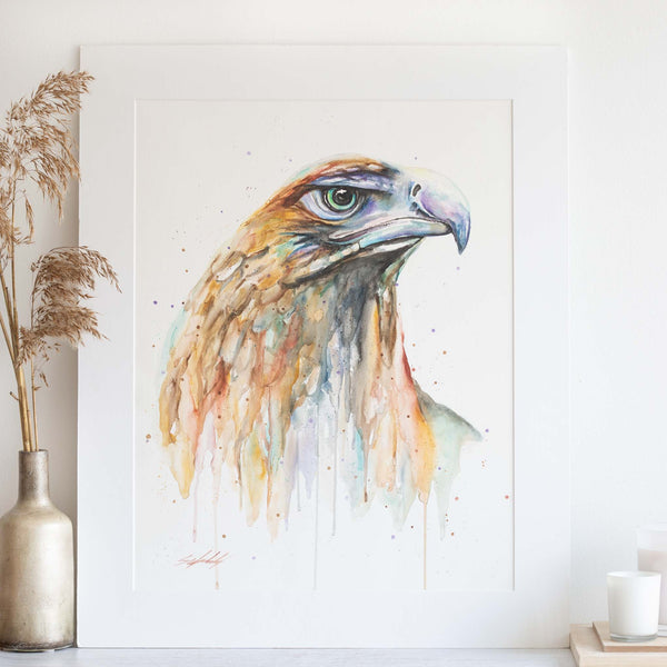 Watercolour animals artwork green eyed eagle