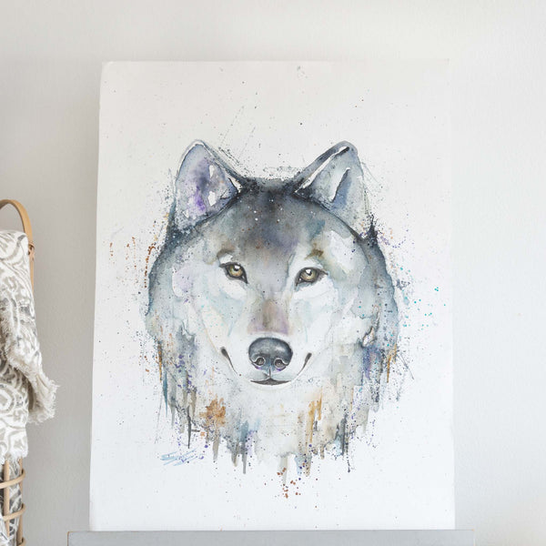 Watercolour animals artwork Grey Wolf painting
