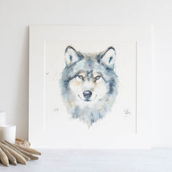 Watercolour animals artwork wolf painting matted