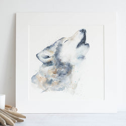 Watercolour animals artwork howling wolf