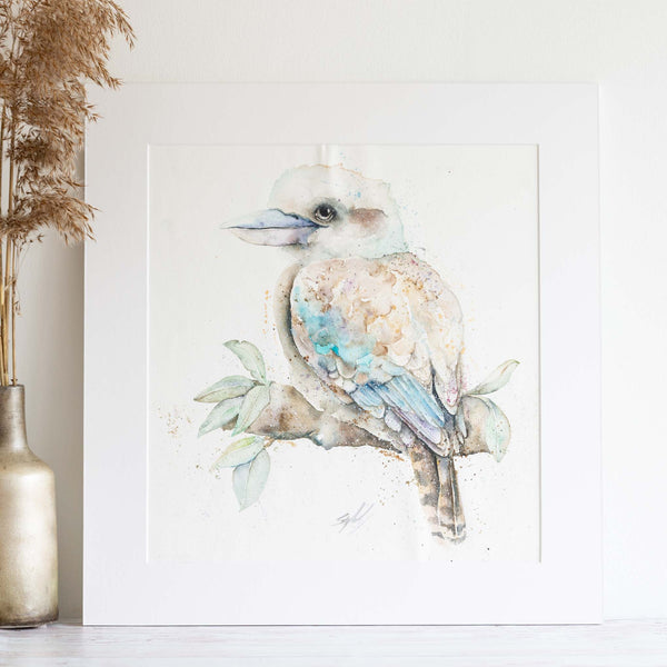 watercolour animals artwork Kookaburra matted painting