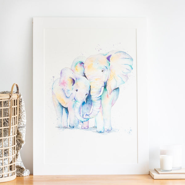 watercolour animals artwork mom and baby elephant