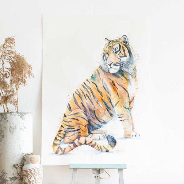 watercolour animals artwork tiger painting