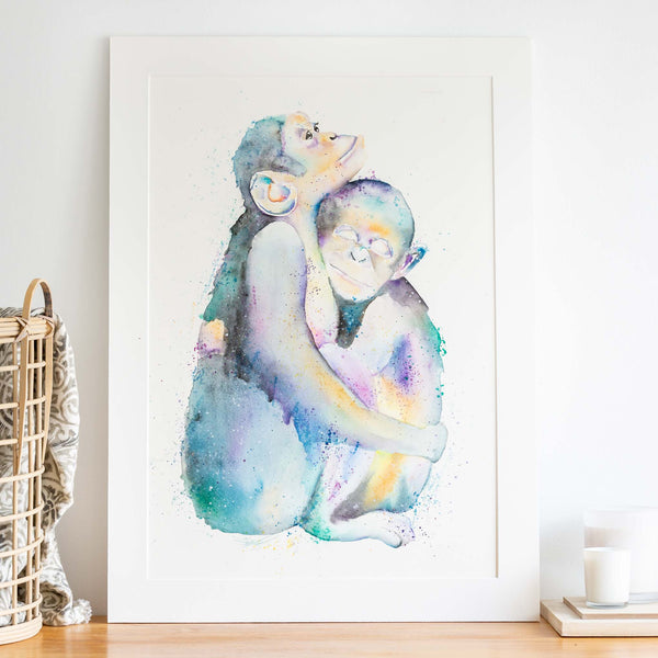 watercolour animals artwork rainbow chimpanzees mom and baby