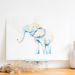 watercolour animals artwork rainbow elephant
