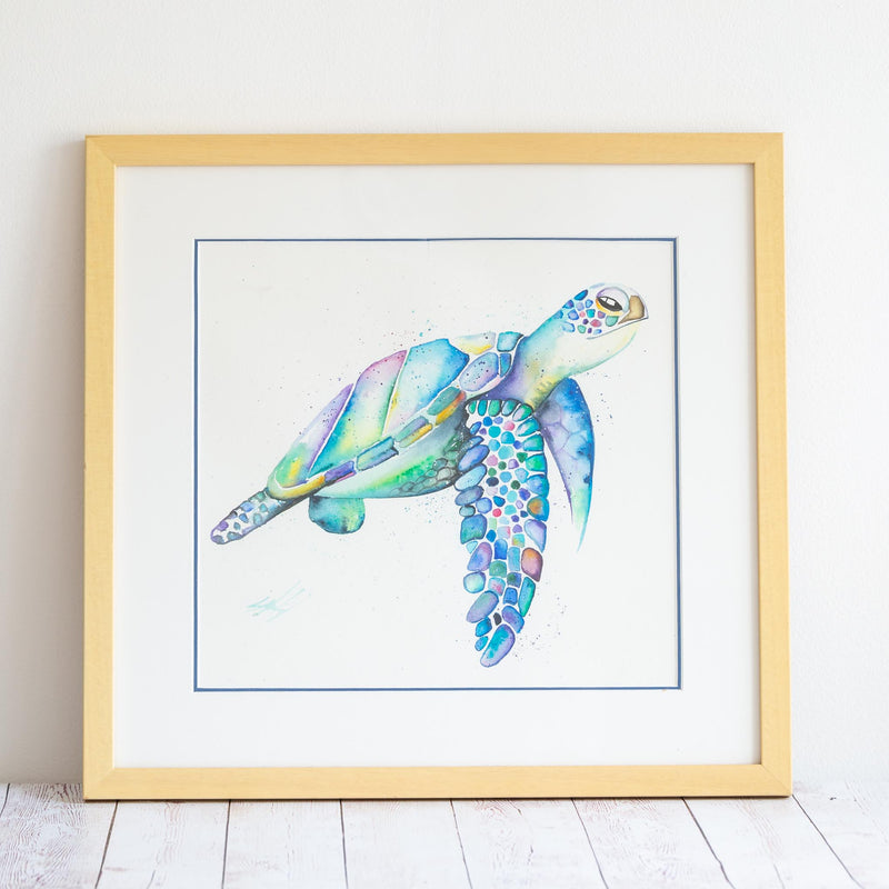 Rainbow sea turtle watercolour painting in cream frame