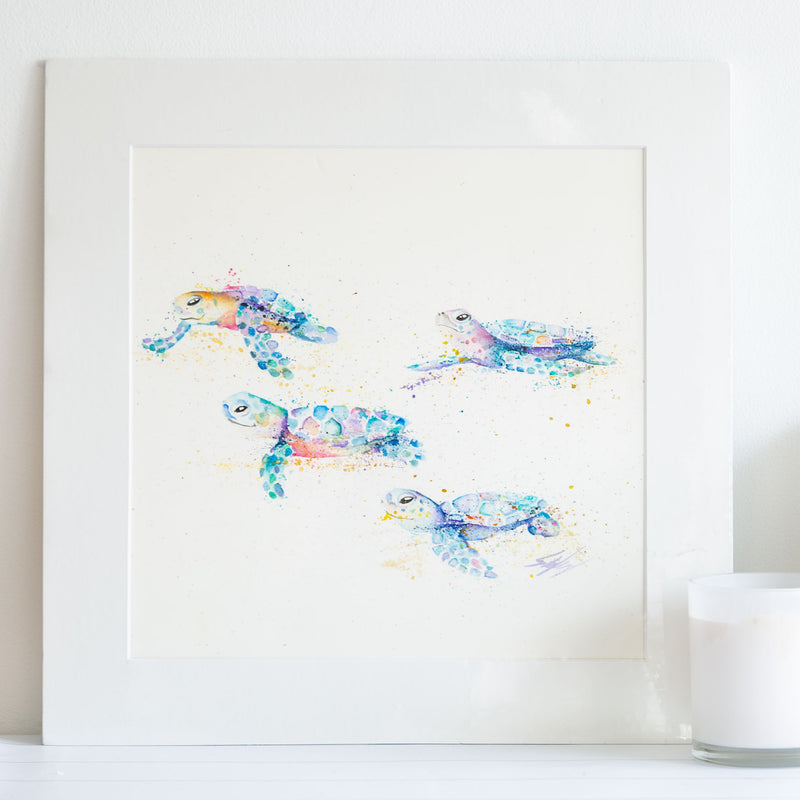 Watercolour animals artwork baby turtles painting