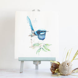 watercolour animals artwork blue fairy wren