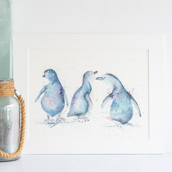 watercolour animals artwork penguin painting