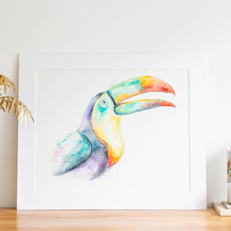 Watercolour animals artwork toucan painting